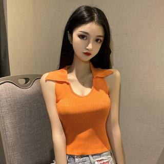 Áo Dệt Kim Không Tay Cổ Chữ U Dáng Ôm Phong Cách Hàn Quốc Thời Trang 2020