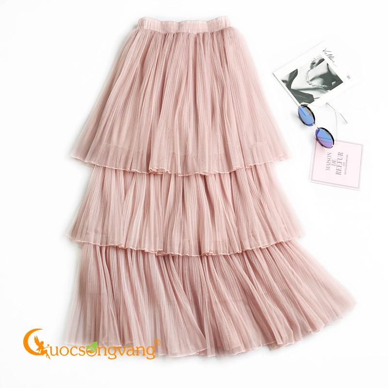 Chân váy xếp ba lớp hồng chân váy kiểu midi eo thun GLV112