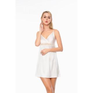 Dreamy VX16 06 Váy ngủ lụa cao cấp hai dây dáng xòe gợi cảm màu trắng thumbnail