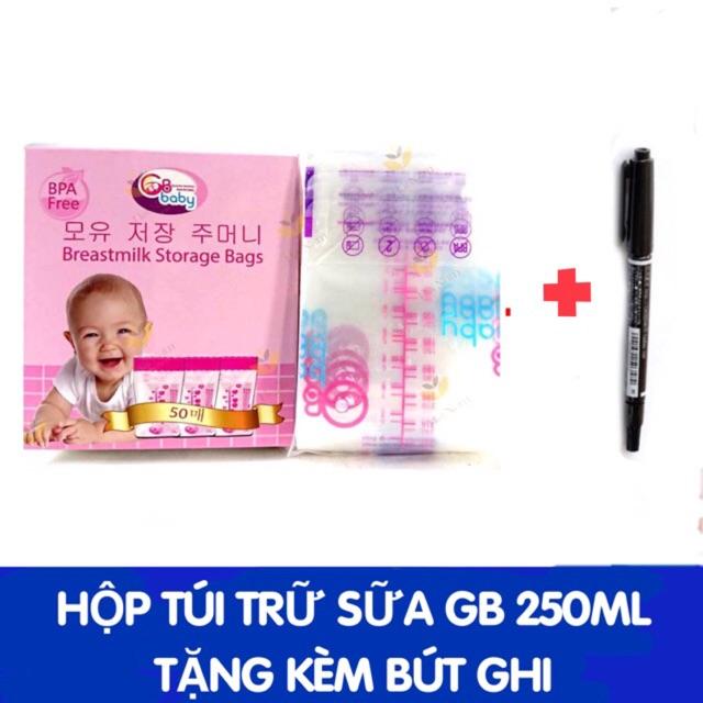 (Tặng bút ghi chú) Túi Trữ Sữa GB Hàn Quốc Hộp 50 Túi