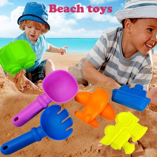 ❦mmakid❦☆6Pcs Sand Sandbeach Kids Beach Spade Shovel Rake Water Tools Toys For Kids