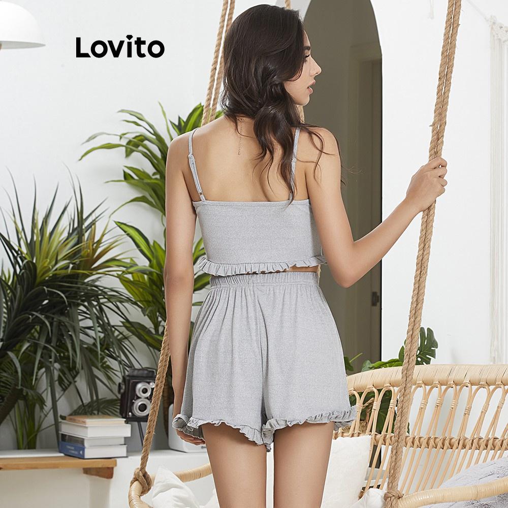 Mặc gì đẹp: Gọn tiện với Bộ đồ mặc ở nhà Lovito thiết kế áo 2 dây cổ chữ V hình nấm màu trơn L02030 (Gray)