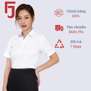 Áo sơ mi nữ công sở ngắn tay Thái Hòa,màu trắng, vải cotton trơn đanh, mịn N047-01-01 thumbnail