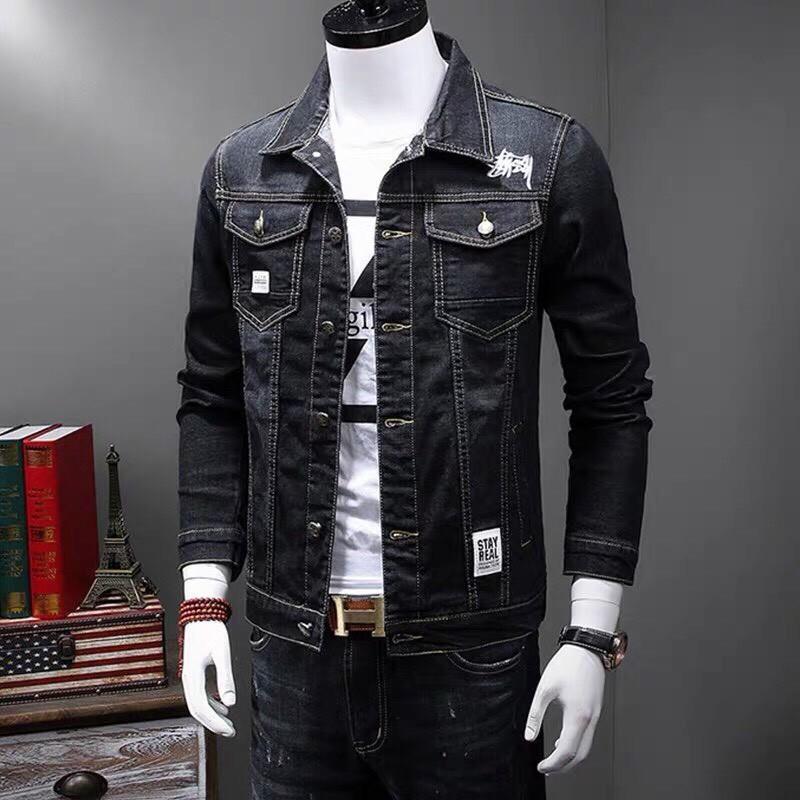 Áo khoác jean nam tay dài cổ bẻ màu đen cao cấp siêu chất Hàn Quốc   Áo khoát jeans nam thời trang đẹp - Áo khoác jeans