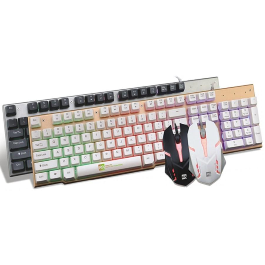 Bộ bàn phím giả cơ và chuột chuyên game R8 1920 Led 7 - Đen Bạc @homeshopping24h@