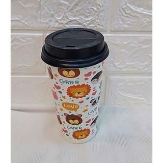 50 Ly Giấy In Hình Thú Cưng 22oz - 650 ml Có Nắp Ly giấy đựng trà sữa Ly giấy 700ml Cốc giấy Ly giấy cafe thumbnail