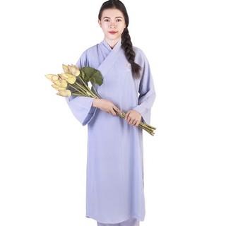 Áo tràng lam phật tử đi chùa dáng dài vải kate dày dặn – bo ao trang lam phat tu di chua dang dai