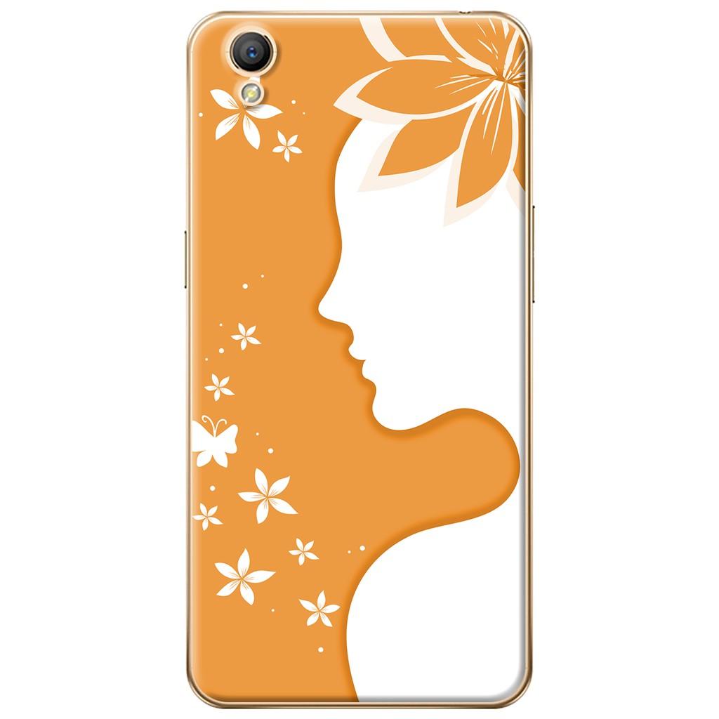 Ốp lưng nhựa dẻo Oppo Neo 9 (A37) Cô gái cài hoa màu cam