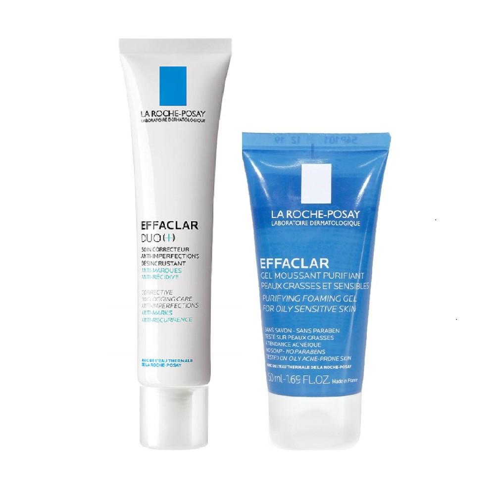 Set kem trị mụn La Roche Posay Effaclar Duo+ 40ml và sữa rửa mặt Effaclar 50ml - Dưastore