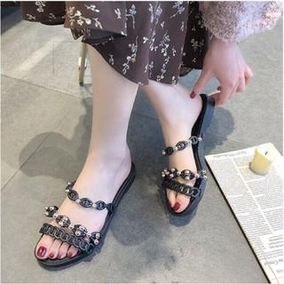 Dép nữ sandal nữ đế bệt quai ngang kiểu quai xích hàn quốc đẹp thời trang sành điệu đủ màu đủ size