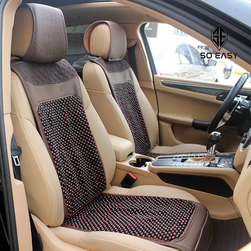 01Tấm Đệm hạt gỗ có lót vải cotton có cổ ghế dành cho ghế lái hoặc ghế phụ xe hơi,ô tô,xe tải (45x 120 cm) _DL06
