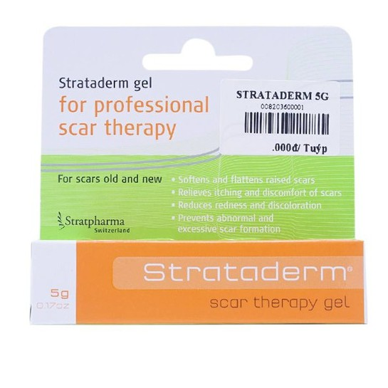 Gel mờ sẹo Strataderm 5g – Hỗ trợ làm mờ sẹo thâm, làm lành vết thương hở