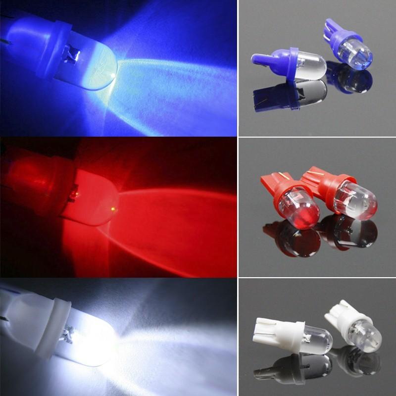 10pcs T10 LED Car Auto Wedge Light Side Dashboard Number Plate Lamp Bulb 12V RGB