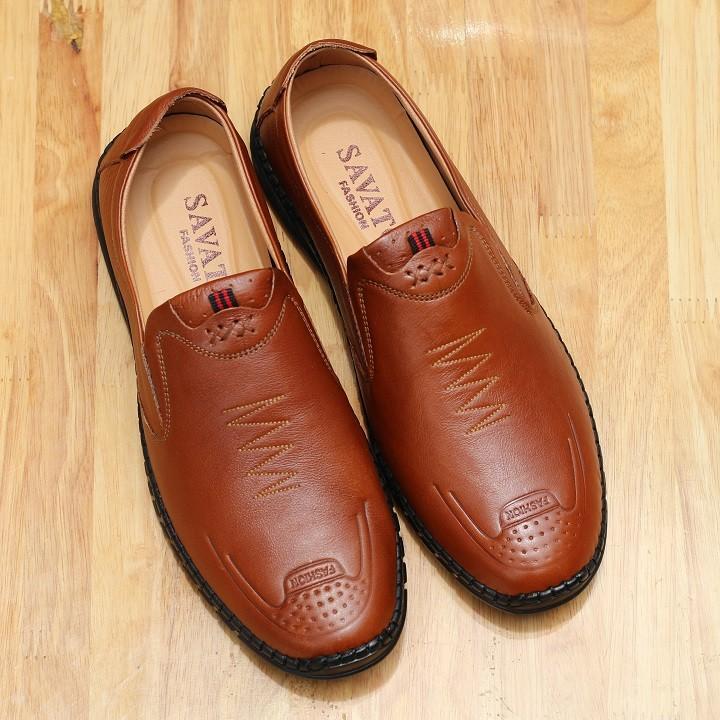 Giày lười nam da bò 2 màu nâu và đen R01