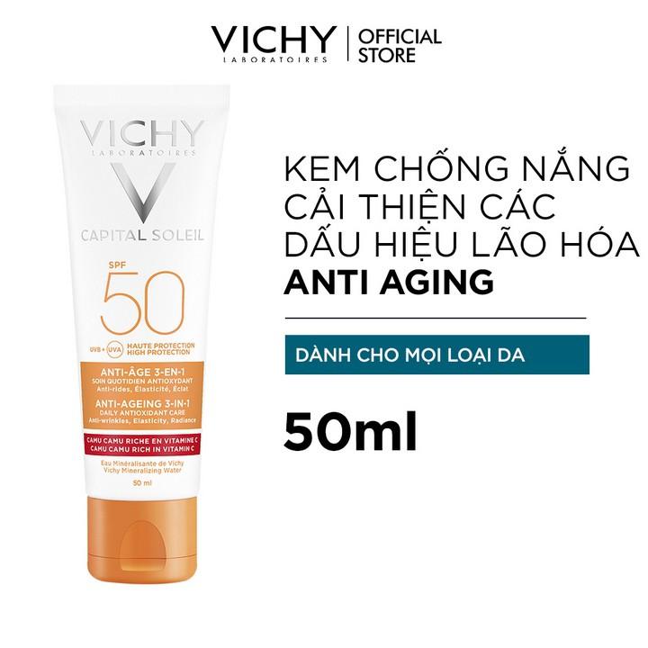 Kem chống nắng bảo vệ và giúp giảm các dấu hiệu lão hóa Vichy Capital Soleil 3 in 1 Anti-Aging SPF50 50ml