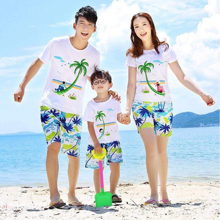 quần áo đi biển nhóm hình cây dừa