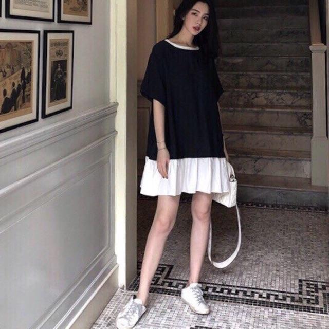 Đầm suông đen phối đuôi trắng