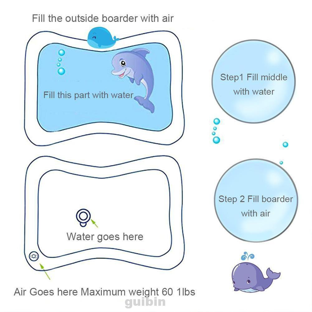 Toys PVC Non Toxic Dual Use Inflatable Patted Baby Early Education Prostrate Motor Skills Water Cushion
