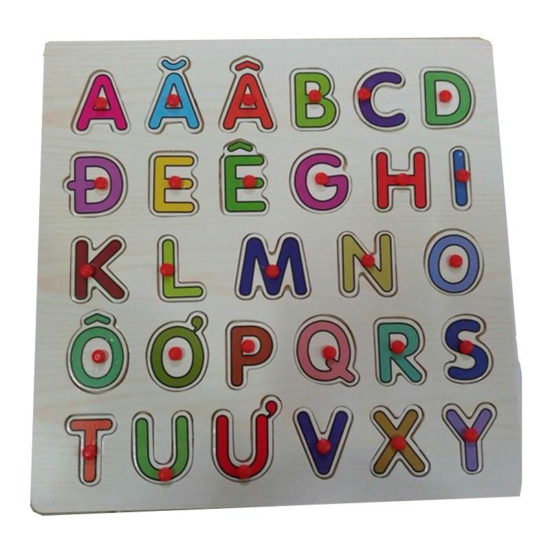 Đồ chơi gỗ cho bé Bảng chữ cái Tiếng Việt có núm BA120