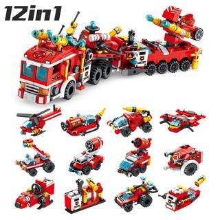 Đồ Chơi Lắp Ráp Kiểu LEGO Biệt Đội Cứu Hỏa 12in1 PANLOS 557 Mảnh Ghép