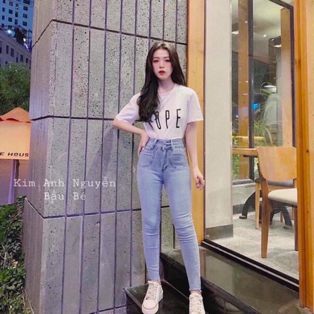 quần jean cạp cao co dãn 2 túi tròn