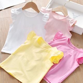 Áo bé gái tay cánh tiên chất cotton cho bé từ 6-17kg thumbnail