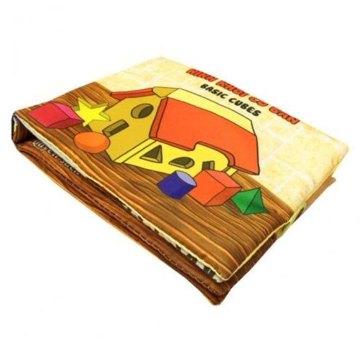 [SIÊU GIẢM GIÁ] ComBo 4 Sách vải học liệu-Hoa quả-Chữ cái-Số đếm-Hình khối-Dành cho bé Sơ Sinh-kích thích IQ
