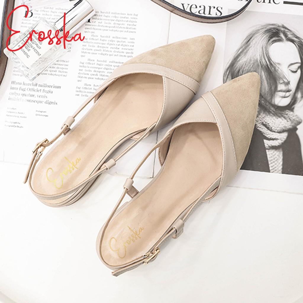Hình ảnh Giày Sandal Nữ Đế Bệt Mũi Nhọn Thời Trang Erosska EL005 ( Màu Nude)-3