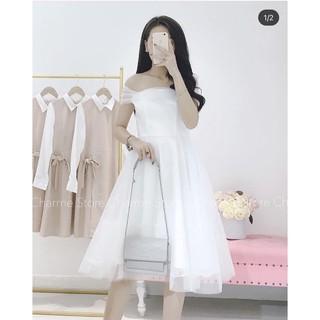 Váy dựa tiệc trễ vai hot hit – Đầm trắng dạ hội mẫu mới nhất 2021