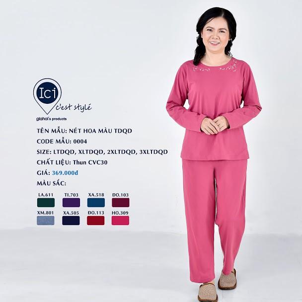 Bộ mặc nhà trung niên Gia Hồi thu đông cho mẹ tên Nét Hoa Màu