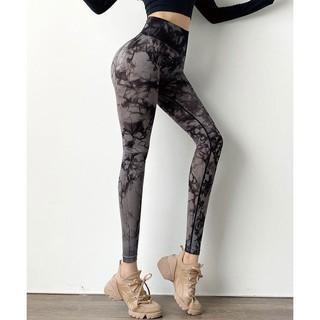 Quần tập gym chun mông, lưng cao, vải dệt văn loang cao cấp |HTSPORT- MSQ23