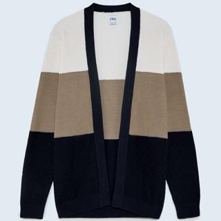 Áo len Zara authentic TEXTURED COLOUR BLOCK CARDIGAN