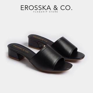 Dép cao gót Erosska thời trang mũi vuông dáng Hàn Quốc cao 3cm màu trắng _ EM024