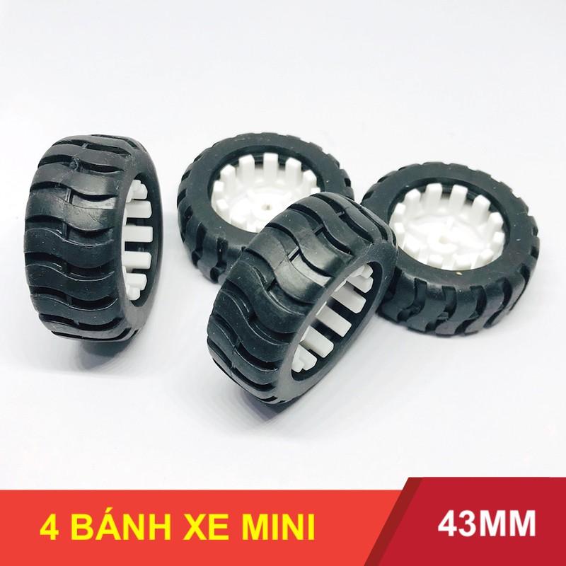 Bộ 4 bánh xe cao su cho động cơ mô tơ giảm tốc N20 đường kính 43mm chế robot DIY – LK0061