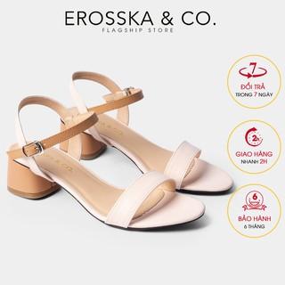 Giày sandal cao gót Erosska mũi tròn phối dây cao 3cm màu cam phối kem EB019