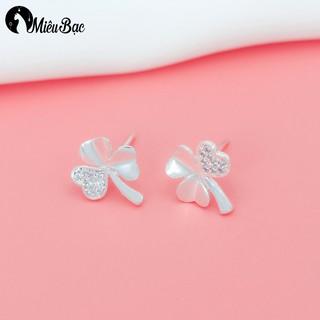 Bông tai nữ MIÊU BẠC đẹp cỏ 3 lá new khuyên tai nữ bạc s925 B400179