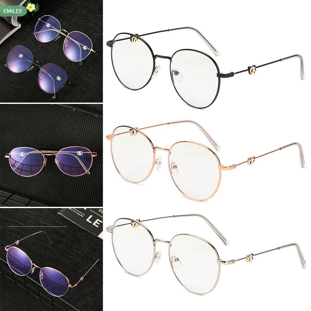 EMILEE💋 Unisex Myopia Glasses Reduces Eye Strain Flat Mirror Eyewear Vintage Eyeglasses Metal Round Frame High-definition Ultralight -1.0~-4.0 Anti-UV Blue...