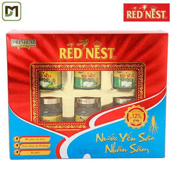 Freeship từ 99k - Yến Sào Red Nest - Vị SÂM - 6 lọ x70ml - Hãng phân phối