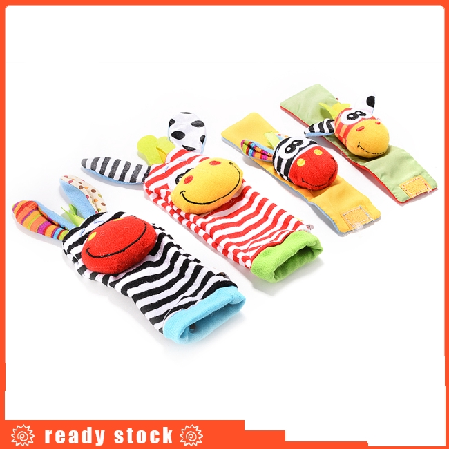 4 x Newest Wrist Rattles Hands Foots finders Baby Infant Soft Toy Developmental by lanlan