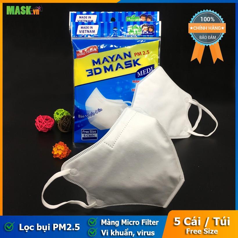 """Khẩu Trang Mayan 3D Mask Medi Người Lớn ( 5 Chiếc / Túi ) """"Khẩu Trang Y Tế 3D Mask Mayan Chính Hãng"""""""