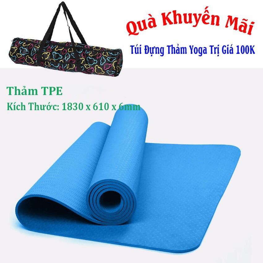 Thảm Yoga 1 Lớp TPE 6mm Xanh Dương Chất Lượng Tặng Túi Đựng Thảm