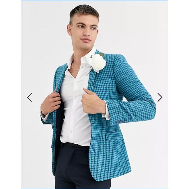 ÁO KHOÁC VEST NAM ASOS DESIGN Wedding siêu mỏng mix blazer len họa tiết houndstooth bản lớn màu xanh