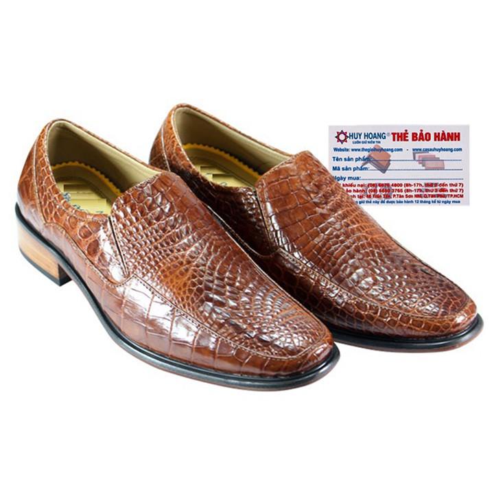 Giày nam da cá sấu màu nâu đỏ HP7202