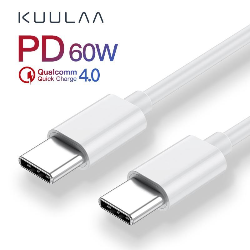 Cáp Sạc Nhanh KUULAA USB Type C PD QC 4.0 Cho Samsung Galaxy S10 S9 Xiaomi Redmi 60W