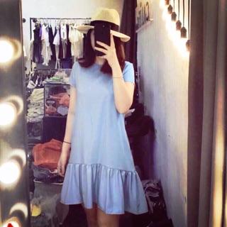 Váy xuông trơn màu xanh biển
