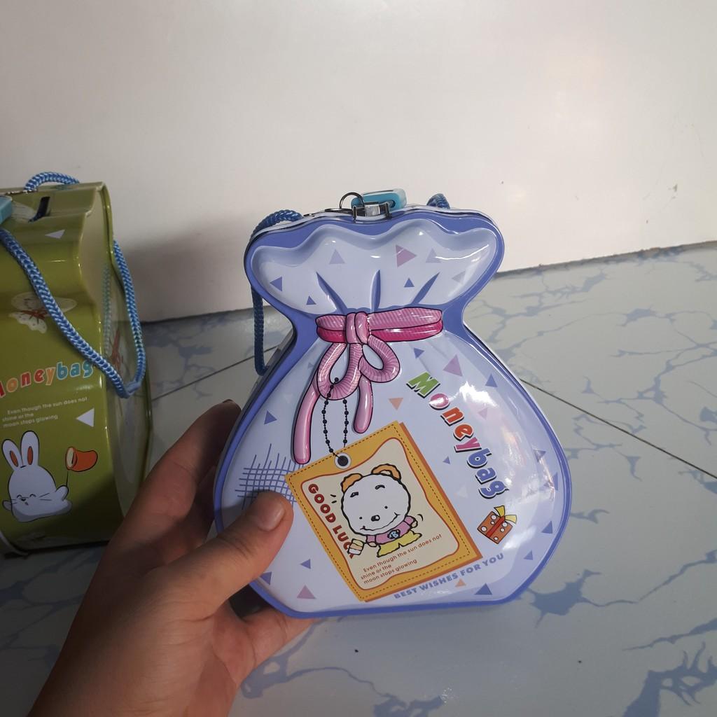 Ống Heo Tiết Kiệm Bằng Sắt Có Khóa mini-Hình Túi Tiền