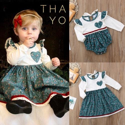 ☞✿☜Princess Toddler Baby Girl Skater Romper Dress Kid Floral Cotton Party Dress NEW
