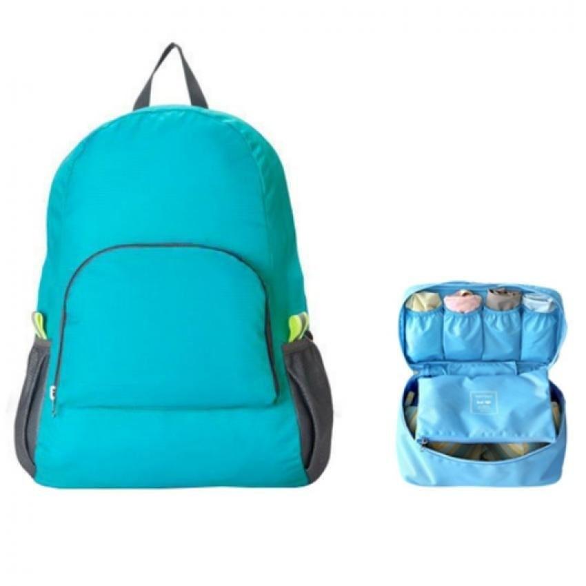 Ba lô du lịch gấp gọn kèm túi đựng đồ lót xanh dương