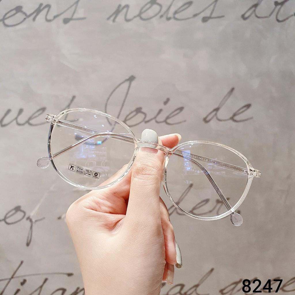 Gọng kính cận thời trang [Cắt kính mắt cận-loạn] Kính gọng tròn 8247