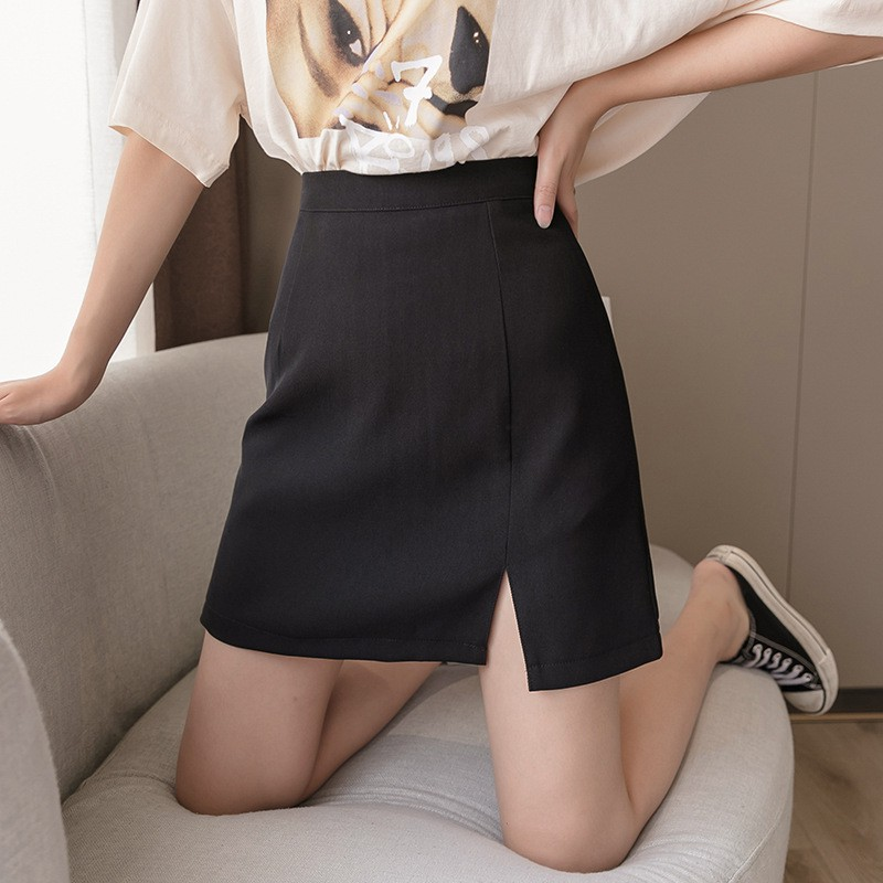 Chân váy ngắn chữ a xẻ trước, Chân váy ngắn công sở xẻ tà có quần trong chống lộ của Madela shop